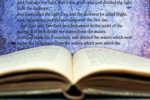 Open bible; Scripture from Genesis