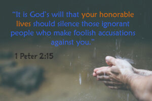 It is God's will that your honorable lives should silence those ignorant people who make foolish accusations against you