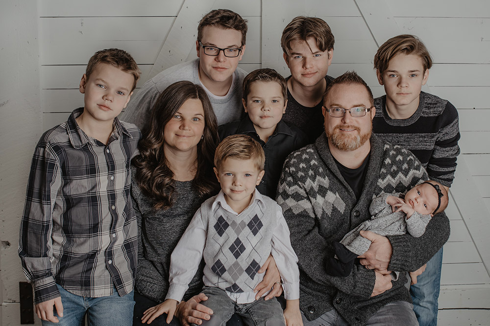 Pastor Josh Perks and family (a lot of boys)