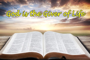 "open bible; bright sky sunrise background with text ""God is the Giver of Life"""