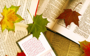 books Scripture scattered with leaves