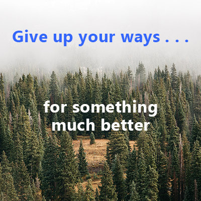 Give up your ways for something much better